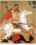 Икона аналойная малая св.вмч Георгий Победоносец. Дерево, ручное золочение (поталь)