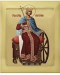 Икона аналойная св.вмц. Екатерина. Дерево, ручное золочение (поталь), с ковчегом