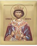 Икона аналойная св. равноап. царь Константин. Дерево, ручное золочение (поталь), с ковчегом