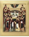 Икона аналойная Собор оптинских старцев. Дерево, ручное золочение (поталь), с ковчегом