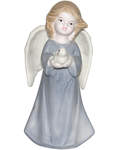 Ангел с голубем средний керамический в глазури