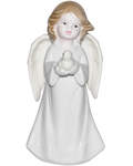Ангел с голубем средний керамический в глазури (белый)