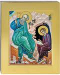 Икона аналойная Иоанн Богослов и Прохор апостол. Дерево, ручное золочение (поталь), с ковчегом