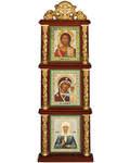 Иконостас тройной с иконами вертикальный. Высота 29,5 см
