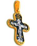 Крест двухсторонний Спаситель - Пресвятая Богородица Покрова, серебро с чернью и позолотой 5 мкр. Au 999 (средний)