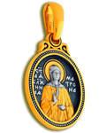 Икона двухсторонняя Святая блаженная Матрона Московская, серебро с чернью и позолотой 5 мкр. Au 999