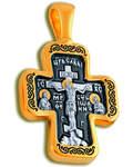 Крест двухсторонний Спаситель- Ангел Хранитель, серебро с чернью и позолотой 5 мкр. Au 999