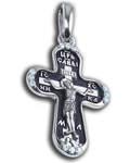 Крест двухсторонний Спаситель - Ангел Хранитель, серебро с чернью, вставка из 12 бесцветных фианитов (средний)