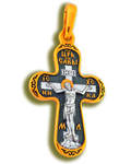 Крест двухсторонний Спаситель- Архангел Михаил, серебро с чернью и позолотой 5 мкр. Au 999 (малый)