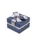 Футляр подарочный квадратный с бантом. Цвет сапфировый перламутр, картон