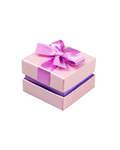 Футляр подарочный квадратный с бантом. Цвет розовый перламутр, картон