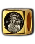 Бусина Пресвятая Богородица Казанская, серебро с чернью, позолотой 5 мкр. Au 999, эмаль