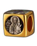 Бусина Мученица Татьяна, серебро с чернью, позолотой 5 мкр. Au 999, эмаль