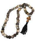 Четки из растения Слезы Богородицы с крестом из самшита (50 зерен)