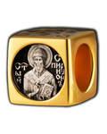 Бусина Святитель Спиридон Тримифунтский, серебро с чернью, позолотой 5 мкр. Au 999, эмаль