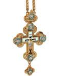 Крест наперсный латунный в позолоте с украшениями и цепью