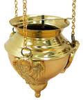 Лампада подвесная с херувимами, 13х10,5см, длина цепи 50см, латунь