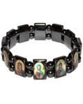 Браслет магнитный с ликами Спасителя и Пресвятой Богородицы, на резинке, камень гематит, диаметр 65мм