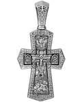 """Крест нательный """"Распятие - Апостолы Петр и Павел. Святые воины"""", серебро с чернью (Ag 925)"""