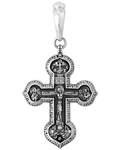 """Крест нательный """"Распятие - Валаамская икона и святые целители. Молитва Да воскреснет Бог"""", серебро с чернью (Ag 925)"""