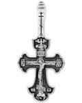 """Крест нательный """"Распятие - Молитва Да воскреснет Бог"""", серебро с чернью (Ag 925)"""