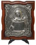 Икона Ангел Хранитель, дерево (ясень), гальваническое серебрение, кристаллы Swarovski, размер 15*17,5см