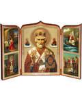 Складень тройной Святитель Николай Чудотворец. Размер 255*175мм