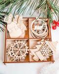 Набор деревянных елочных украшений /20шт в коробке