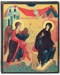 Икона Благовещение. Полиграфия, дерево, лак