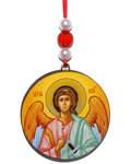 """Икона автомобильная круглая """"Ангел Хранитель"""", диаметр 5см, дерево"""