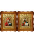 Венчальная пара Икона Спасителя и Казанской Божьей Матери, деревянный фигурный киот, багет, оклад, стекло