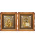 Венчальная пара Икона Спасителя и Казанской Божьей Матери, деревянный фигурный киот, багет, стекло