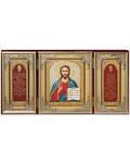 Складень тройной бархатный Господь Вседержитель, с молитвой