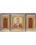 Складень тройной бархатный Николай Чудотворец, с молитвой