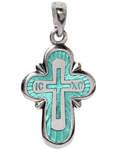 Крест православный, серебро, горячая эмаль