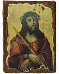 Икона под старину Иисус Христос в терновом венце, размер 14,5х20см, дерево