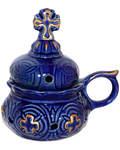 Кадильница настольная, цвет синий с золотом, керамика