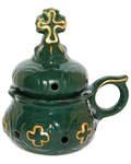 Кадильница настольная, цвет зеленый с золотом, керамика