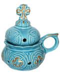 Кадильница настольная, цвет голубой с золотом, керамика